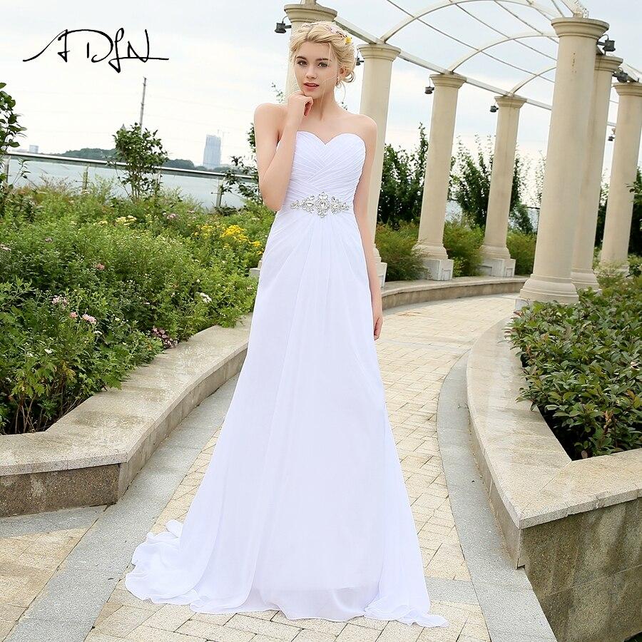 ADLN Real Model Beach Wedding Dress Sweetheart Pleats Crystal  Belt Chiffon Wedding Dresses Plus Size robe de mariee Lace up  BackWedding Dresses