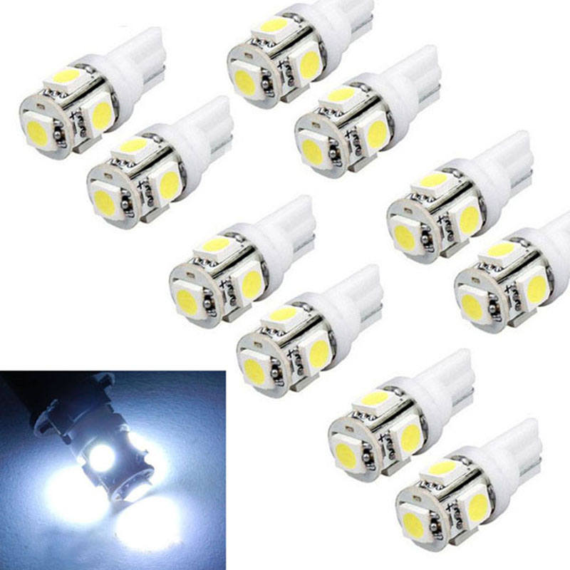 10pcs New Hot T10 Wedge 5-SMD 5050 Xenon Car LED Light bulbs 192 168 194 W5W 2825 158 Cool White deechooll 2pcs wedge light for mazda 2 3 5 6 mx5 rx8 cx7 626 gf gg ge gw canbus t10 57smd 6w led clearance xenon lighting bulbs
