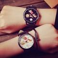 Cute Fashion Hamburger Pizza Chips Steel Shell PU Leather Quartz Analog Women Ladies' Girls' Wristwatch Watch Black