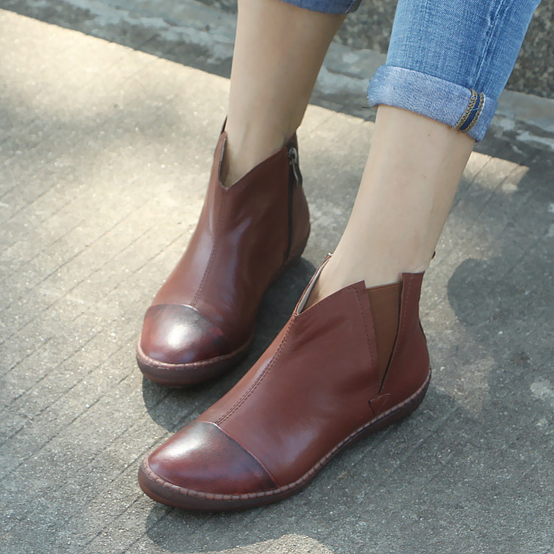 À 996 Fermeture Côté Brown Semelles Chaussures Rétro Talon Des Femmes De Designers Boot 9 Main Luxe Doux Glissière Art La Courtes Moyen Bottes OTPukZiX