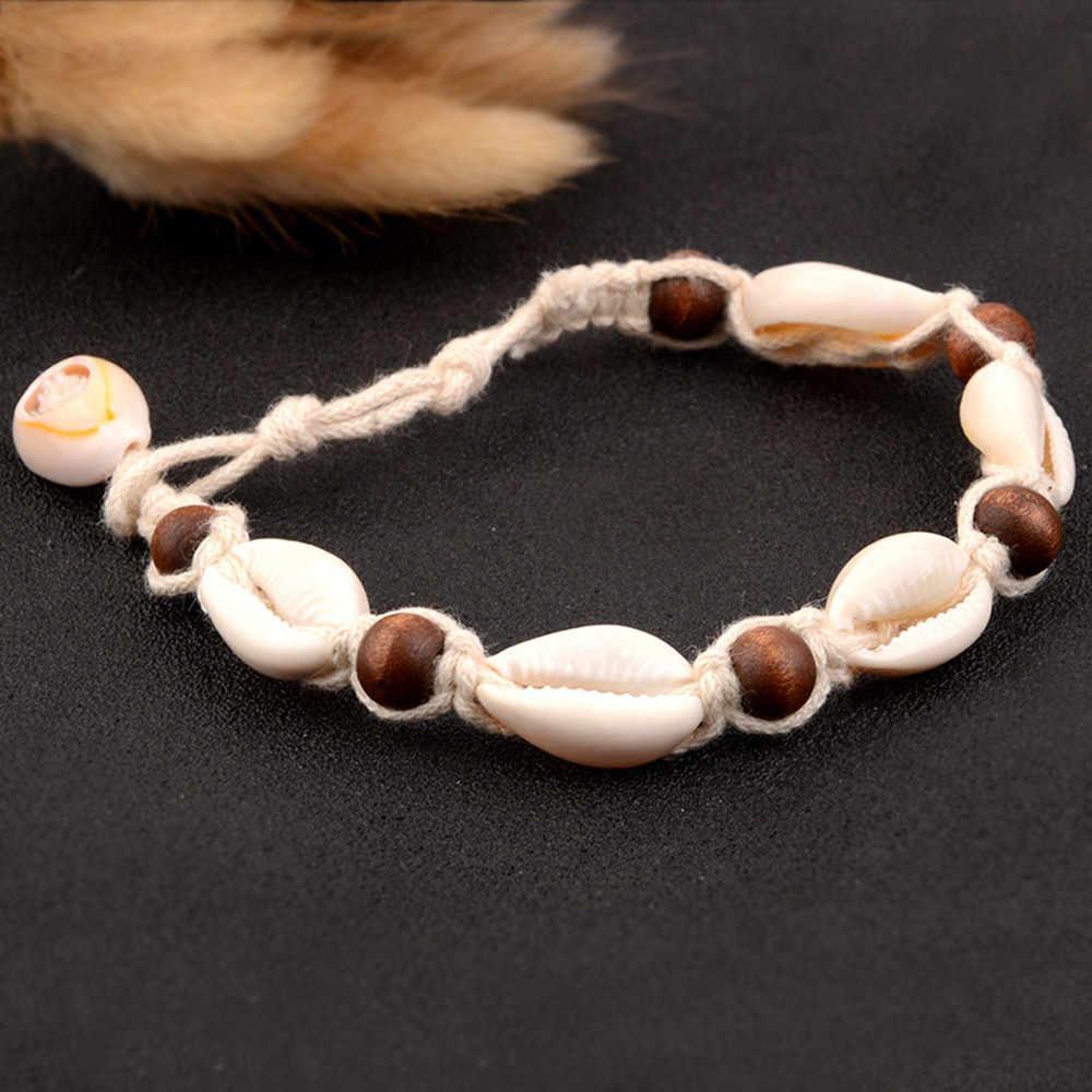 Czeski naturalny Sea Shell muszla obrączki dla kobiet bransoletka na kostkę na nogi srebrny złoty powłoki koralik łańcuszek na kostkę kostki plaża biżuteria