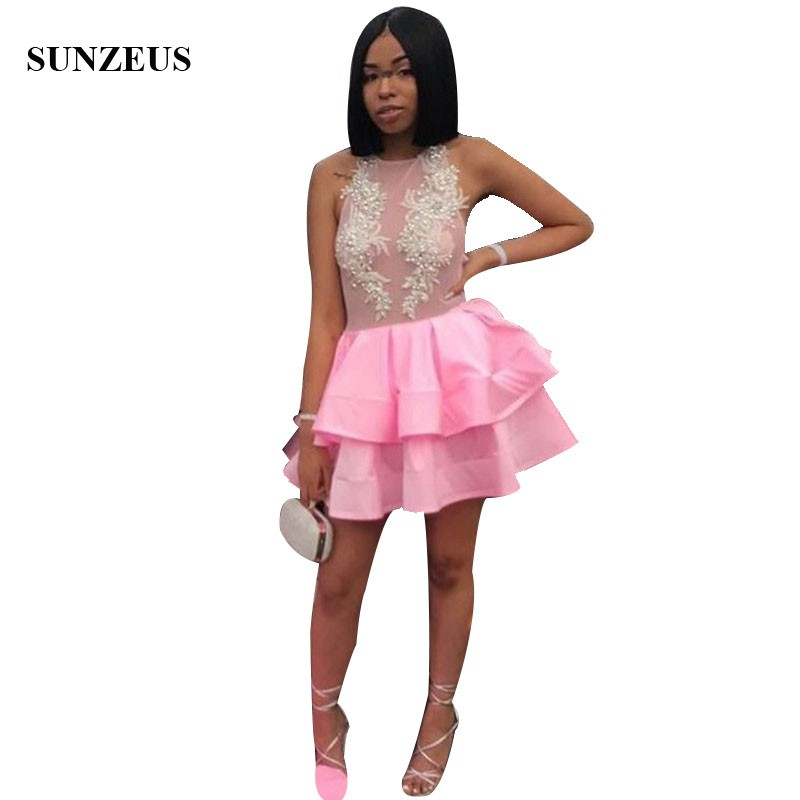 Sexy Illusion Bodice Pink   Prom     Dress   With Appliques Pearls Mini Short Party   Dresses   Tiered Black Girls Dance Gowns Night