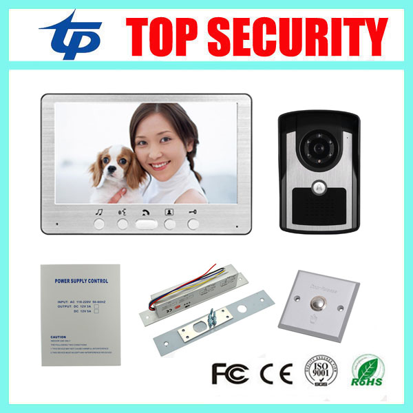 7inch video door phone door intercom video door bell door access control system+power supply+electric bolt lock +exit button wireless service call bell system popular in restaurant ce passed 433 92mhz full equipment watch pager 1 watch 7 call button