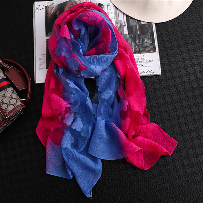 Silk Scarf Organza Gradient Colors Floral Lace Scarves Spring Wraps Sarong Femme Beach Lightweight Sunscreen Shawls For Women
