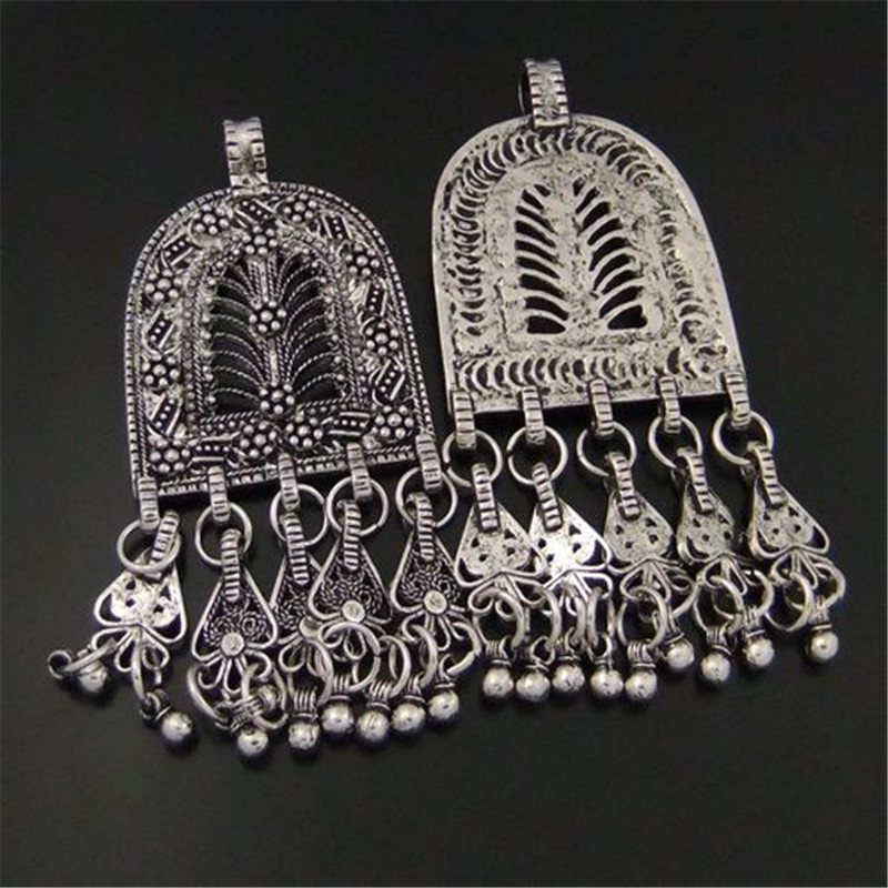 3pcs/pack Antique Silver Alloy Tassel Necklace Earrings Pendant Charms Fine Bohemia Style Jewelry Making Hot 76*36*3mm 04123