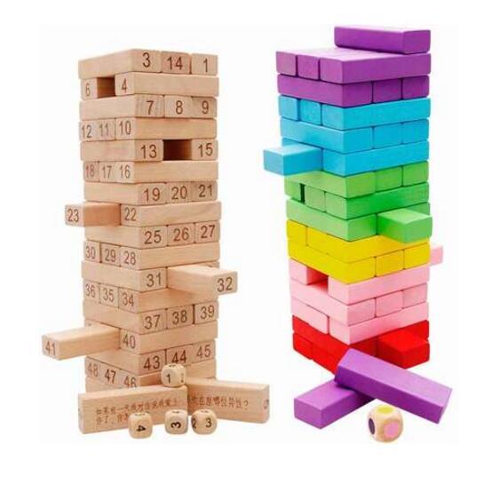Enfants Coloré Arc-en-bois dominos jouet empilage building block jeu bébé éducatifs Tumbling empilés tour Jenga kid