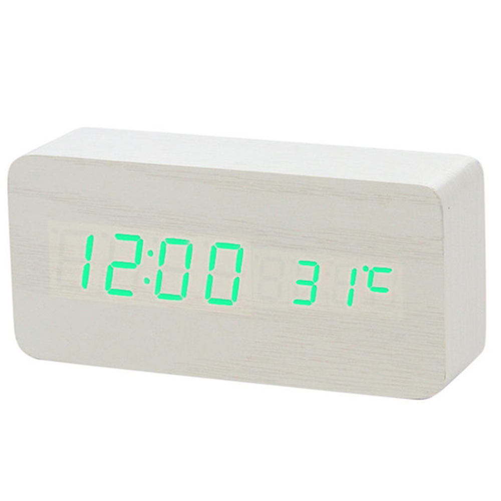 Image 5 - Multicolor Sound Control Wooden Wood Square LED Alarm Clock Desktop Table Digital Thermometer Wood USB/AAA Date Display BTZ1-in Alarm Clocks from Home & Garden