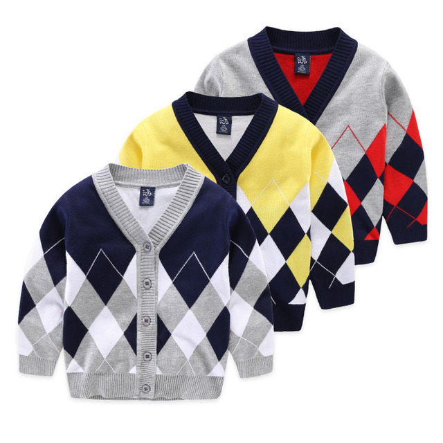 2016 Winter Boy V-Neck Sweater Cardigan Kids High Quality Geometry Knitwear Boys Wool Sweater Coat Children Clothing Tops