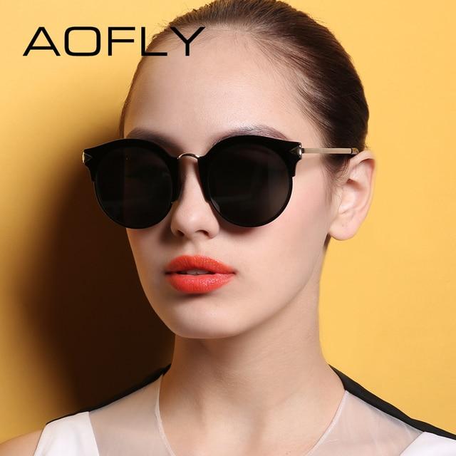 AOFLY Дамы Солнцезащитные Очки 2017 Полуободковые Солнцезащитные Очки Для Женщин Бренда Дизайн Зеркало Eyewears UV400 Защиты С Делом AF79153