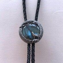 Ручной работы Природа Индийский Лабрадорит камень волк Боло связать каждый камень уникальный BOLOTIE-048