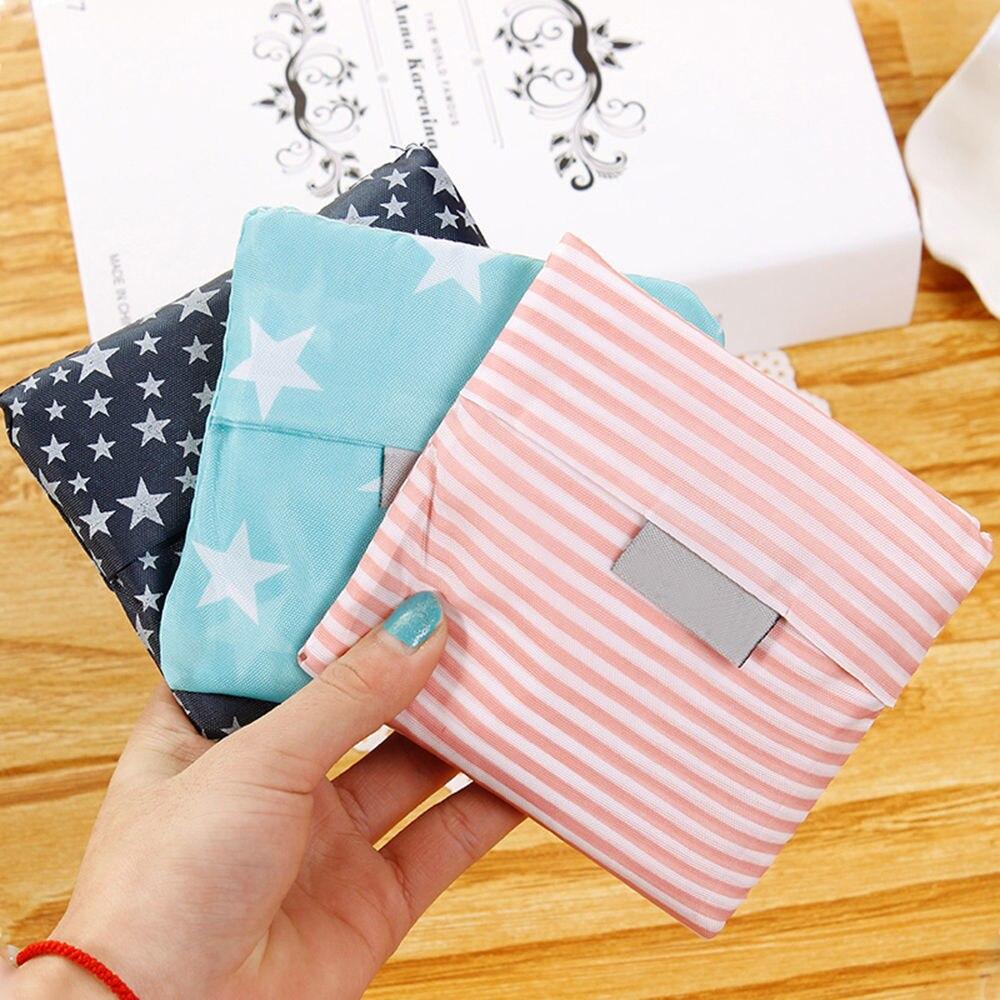 купить 6 Style New Fashion Printing Foldable Green Shopping Bag Tote Folding Pouch Handbags Convenient Large-capacity Storage Bags по цене 63.24 рублей