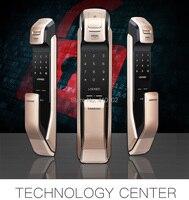SAMSUNG английская версия SHS DP728 Keyless Bluetooth отпечатков пальцев PUSH PULL цифровой замок черный золотой или цвета черный/серебристый