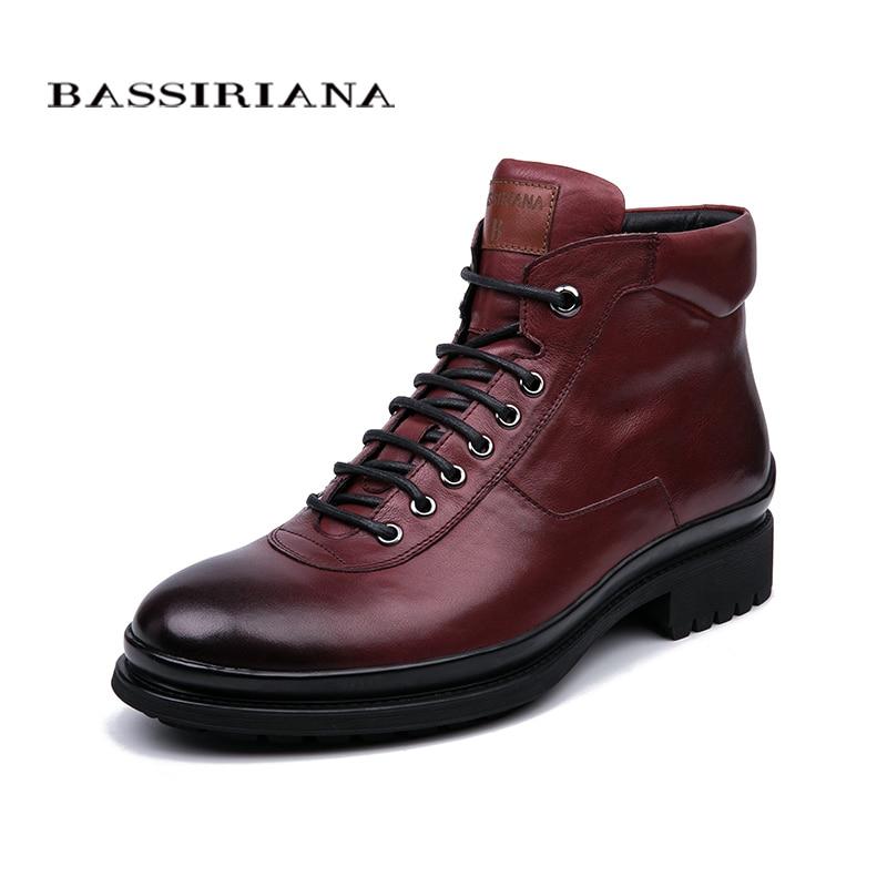 BASSIRIANA nuevo invierno cuero natural hombres lace-up zapatos casual color negro y vino rojo tamaño 39- 45