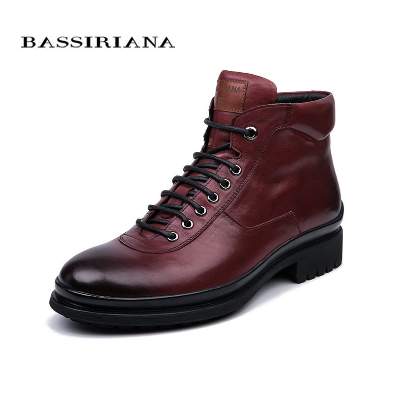 BASSIRIANA winter new natural leather men's lace-up casual shoes color black and wine red size 39-45 new black and red color shader