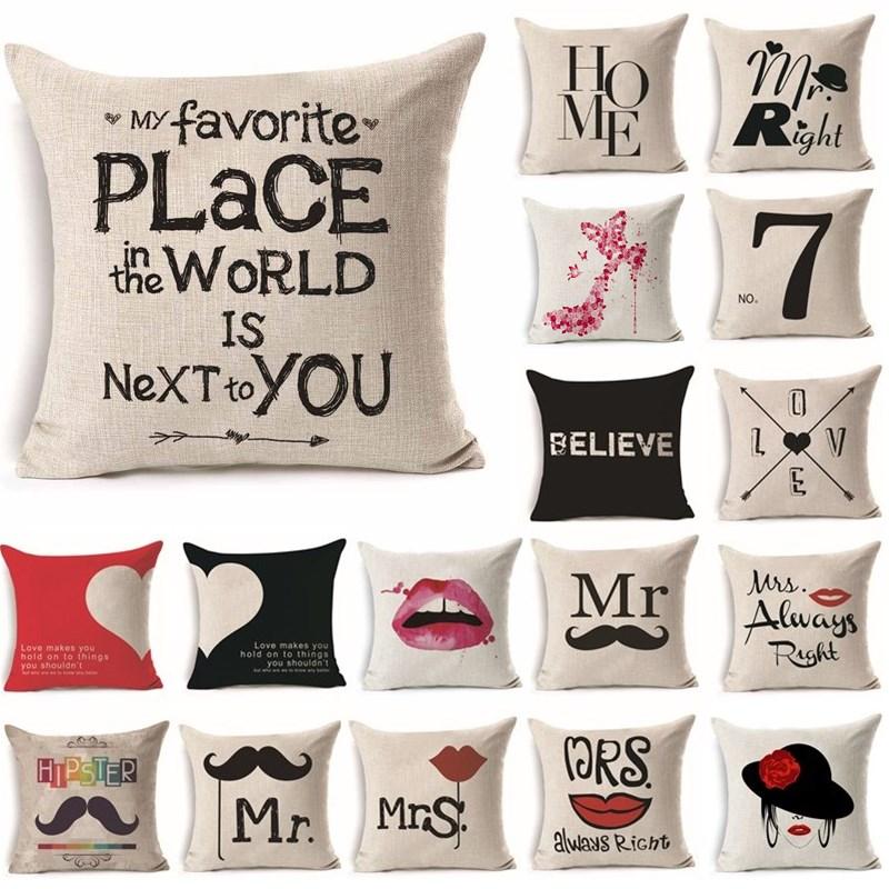 45*45cm Women Men Mr Mrs Love Lip Linen Living Room Cushion Throw Pillow Cushion Cover Home Sofa Decorative Pillowcase 40246