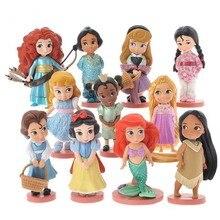 11 pçs 8 10cm bonito princesa neve branco & belle & rapunzel & ariel figuras de ação boneca