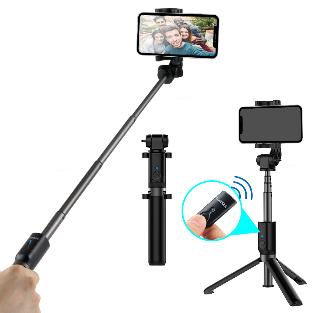 CAIYOULE Bluetooth Extensible Selfie Stick with Shutter Remote for iPhone X/8/7/6 Plus/ Galaxy S9/8/7 Plus&More Phones