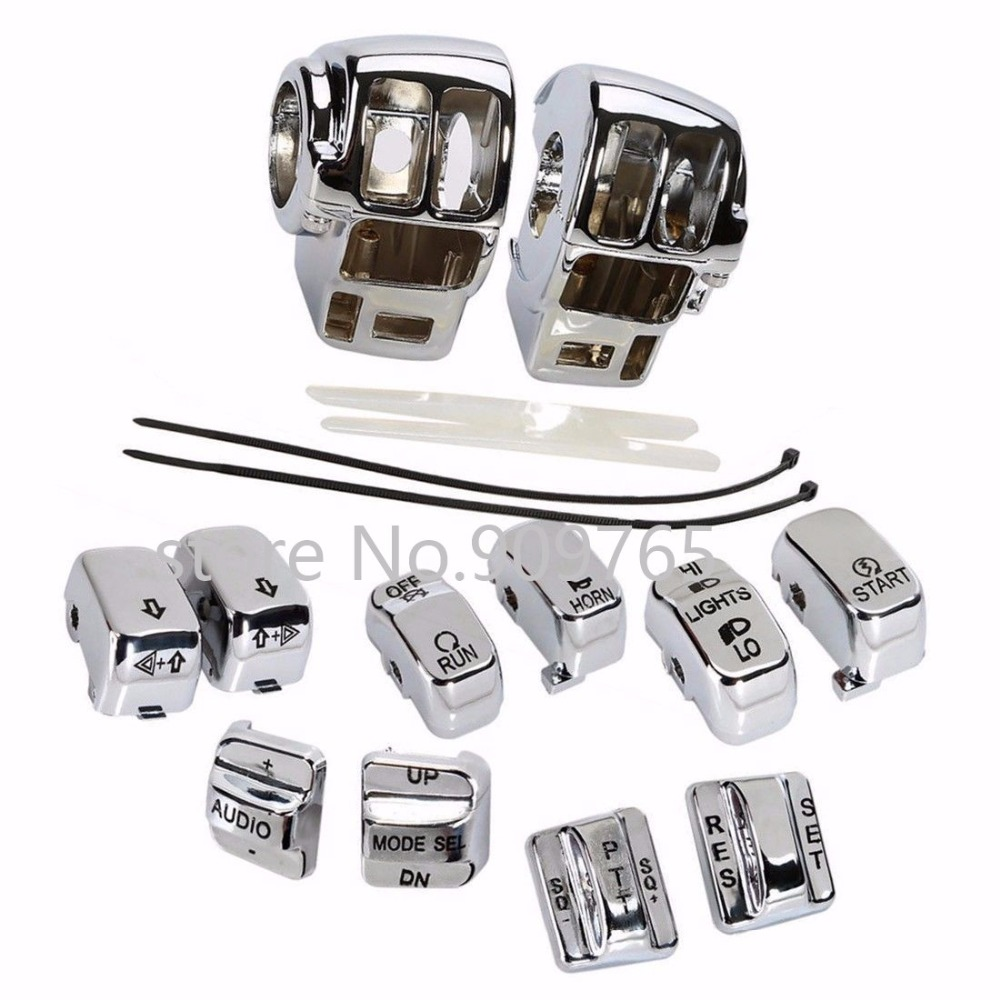 Chrome Switch Housing Cover+10 Cap For Harley Electra Road Tri Glide EFI FLHTI Touring