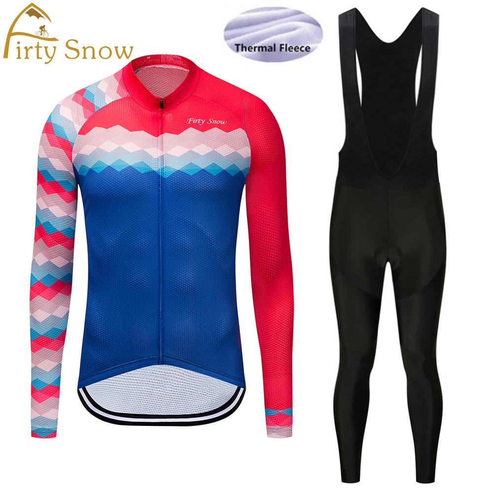 2018 Firty Snow Winter long sleeve cycling jerseys+bib pants bike bicycle thermal fleeced wear set+9D gel pad
