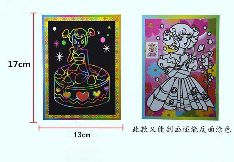 8 Pcs Scratch Papel Pintura Da Arte Placas de Brinquedo Mágico Colorido Desenho Do Zero Caneta Raspador Pincel Preto Brinquedos Educativos Para Crianças presente