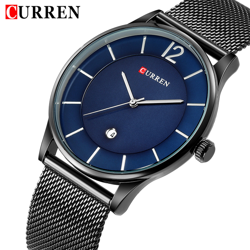 CURREN Top Brand Men Ultra Thin Quartz Watches Mens Fashion Date Dispaly Wristwatches Male Simple Analog Clock Relogio Masculino 2017 mens watches top brand guanqin leather strap casual watches simple ultra thin men quartz watch male clock relogio masculino
