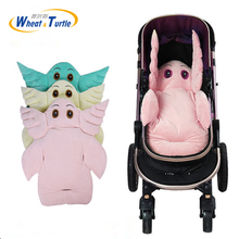 Cute Cartoon Baby Stroller Liner Seat Pad Soft Velvet Cushion For Carriage Chair Car Mat Accessories