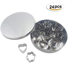цена на 24 PCS Mini Geometric Shaped Cookie Biscuit Cutter Set Stainless Steel Rectangle Square Heart Round DIY Cake Baking Metal Molds