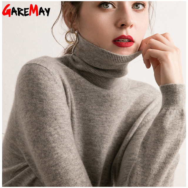 a949b6901bd Spring Cashmere Turtleneck Knitted Women Sweaters And Pullovers Plus Size  Women s Pullover Sweater Turtleneck Long Sleeve