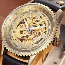 SHENHUA Bronze Automatic Watches Men Hollow Skeleton Leather Strap Mechanical Male Clock Relogio Masculino Mens Wrist Watches