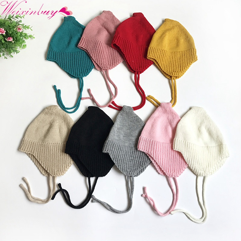 купить Baby Toddler Hat Winter Warm Caps Knitted Newborn Hats Infant Girls Beanies Skullies онлайн