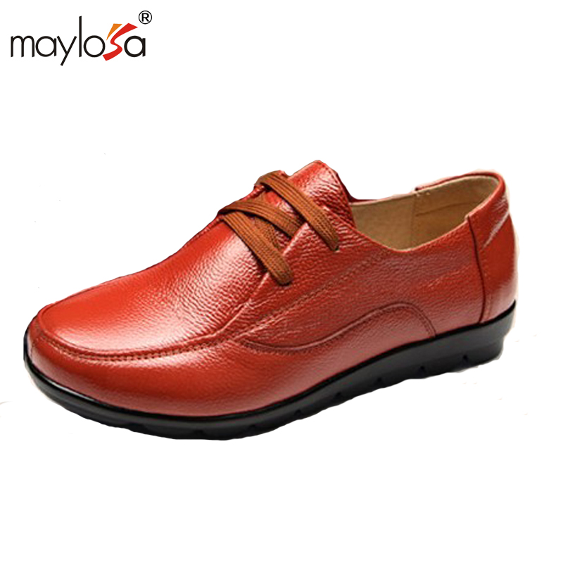 MAYLOSA women shoes  Flat 100% Genuine Leather Round toe Lace up Ladies Shoes Flats Woman Moccasins shoes Plus Size size 34 43 blue ladies autumn shoes round toe heel woman flat shoes t strap genuine leather women ballet flats