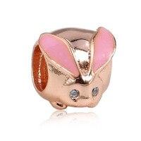 Różowe złoto kolor moda 925 sterling silver królik ładny kolor popularne DIY charms do bransoletek