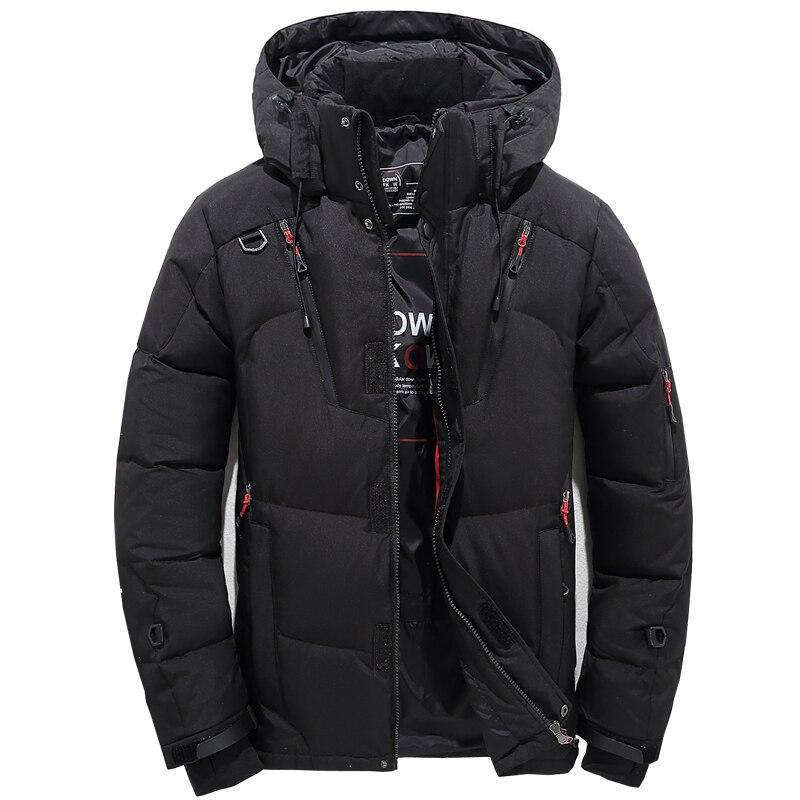 Livraison directe hommes hiver blanc canard vers le bas vestes épaissir chaud à capuche Parkas Homme vêtement d'extérieur à glissière pardessus AXP235