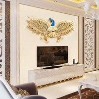 Europe Peacock Wall Clock Home Digital Wall Watch TV Background Clock Wall Living Room Bedroom Mute Wall Clocks Modern Design