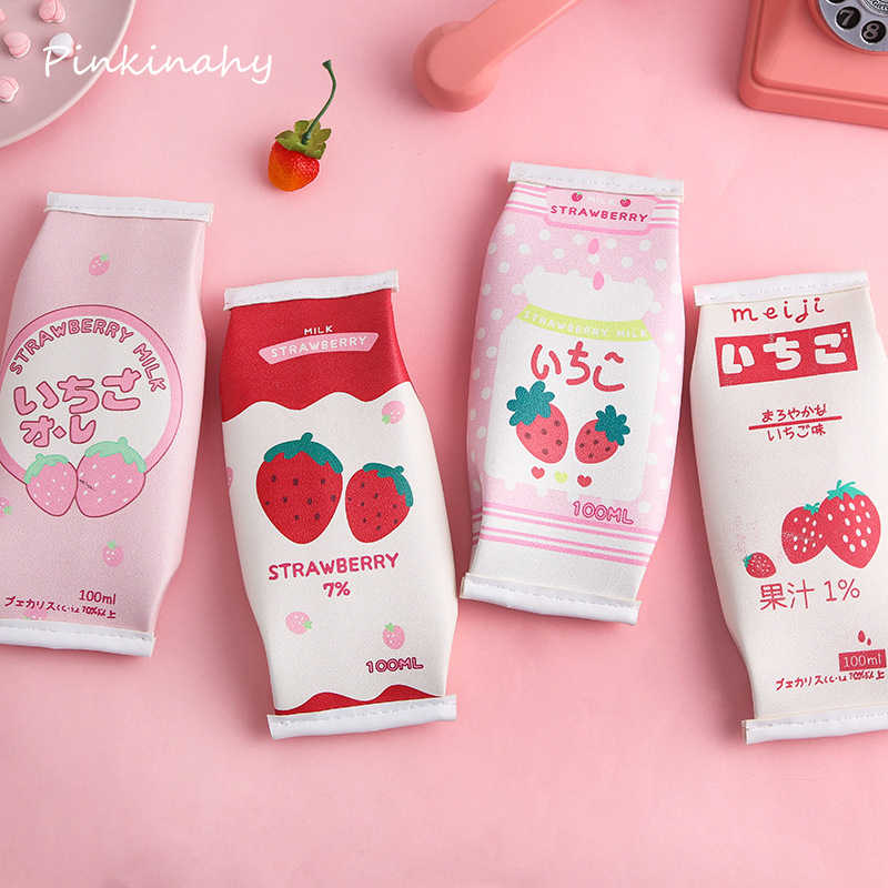 Japanese Pink Strawberry Milk PU Pencil Case Large Capacity Stationery Storage Bag Escalar Papelaria Escolar School Supplies