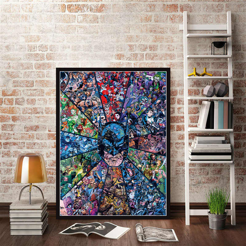 Christmas Gifts Posters and Prints Marvel DC Comics Superheros Batman Joker Avengers Superman Canvas Painting Wall Art Poster