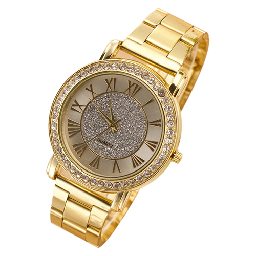 Hot Sales Popular Business but Casual Designed mens wristwatches Retro Gold Plated Crystal Alloy Analog Quartz NO181 5V6S