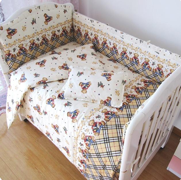 Promotion! 9PCS Whole Set Newborn Baby Bedding Set 100%Cotton Baby Crib Bedding Set For Girl Boy ,120*60/120*70cm