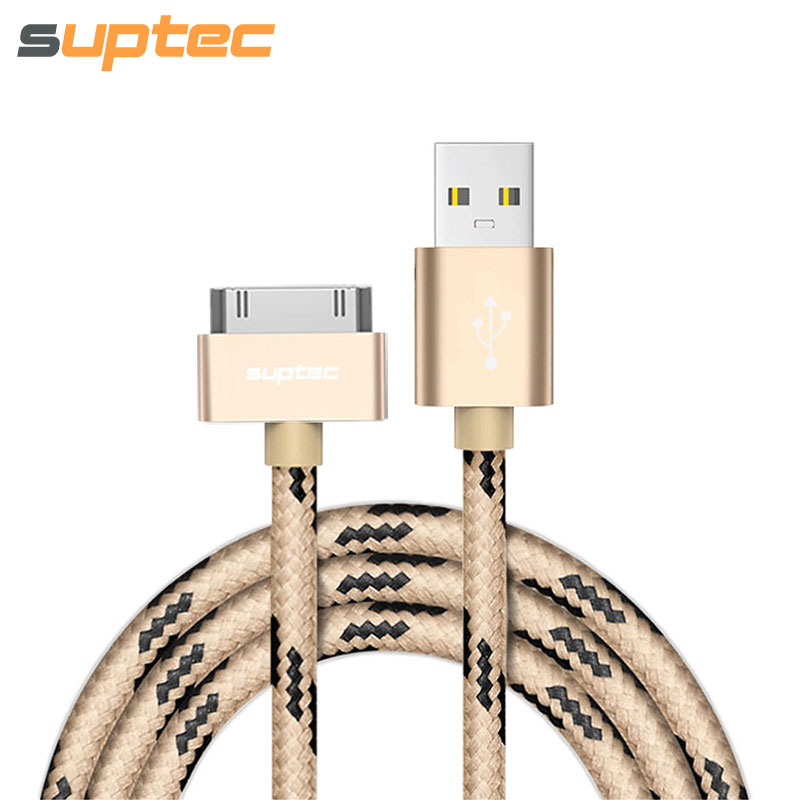 SUPTEC USB-kabel för iPhone 4 4s iPad 2 3 iPod 30 pin Nylon flätad tråd Metallplugg Data Sync USB-laddare adapter Laddningskabel