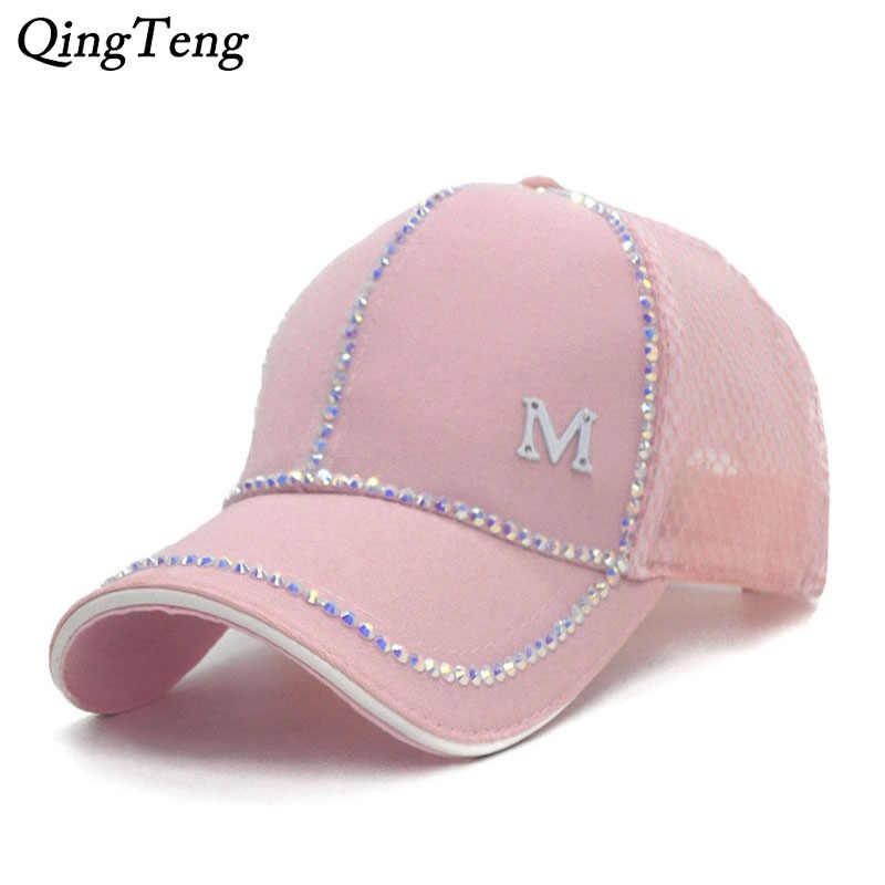 6aeb2be3ce8 2018 Pink Cap Women Summer Breathable Net Baseball Cap Fashion Visor Women  Hat Sparkling Rhinestones Female