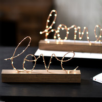 Iron Love/Home Wooden LED Night Light Retro Home Decoration Christmas Wedding Gifts Rustic Centerpieces
