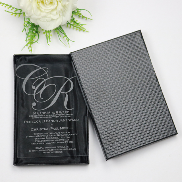 50 Personalized Luxury Acrylic Wedding Invitation Cards For Free Laser  Engraved/Party Invitations And