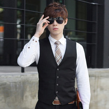 Men Solid Color Waistcoat Slim Fit Single-breasted Business Casual Vest for Spring GDD99 недорго, оригинальная цена