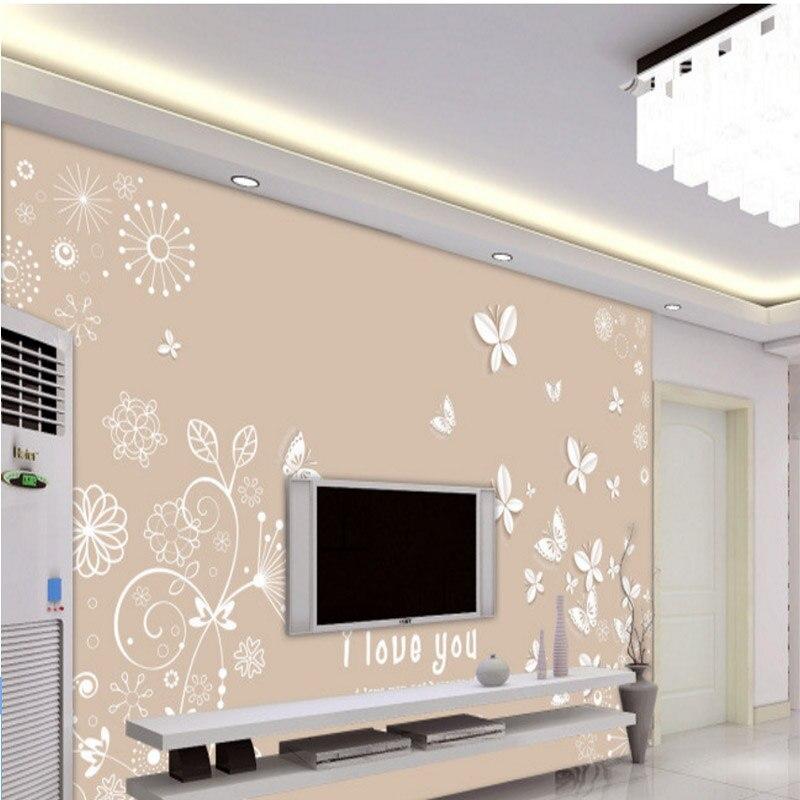 Простые Модные Современные фото обои на заказ 3d эффект высокого качества гостиная, спальня ТВ фон романтический бабочка росписи