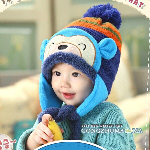 0c0e529cd60 Newborn Baby Handmade Crochet Earflap Hat Winter Cap Cartoon Monkey Beanie -in  Hats   Caps from Mother   Kids on Aliexpress.com