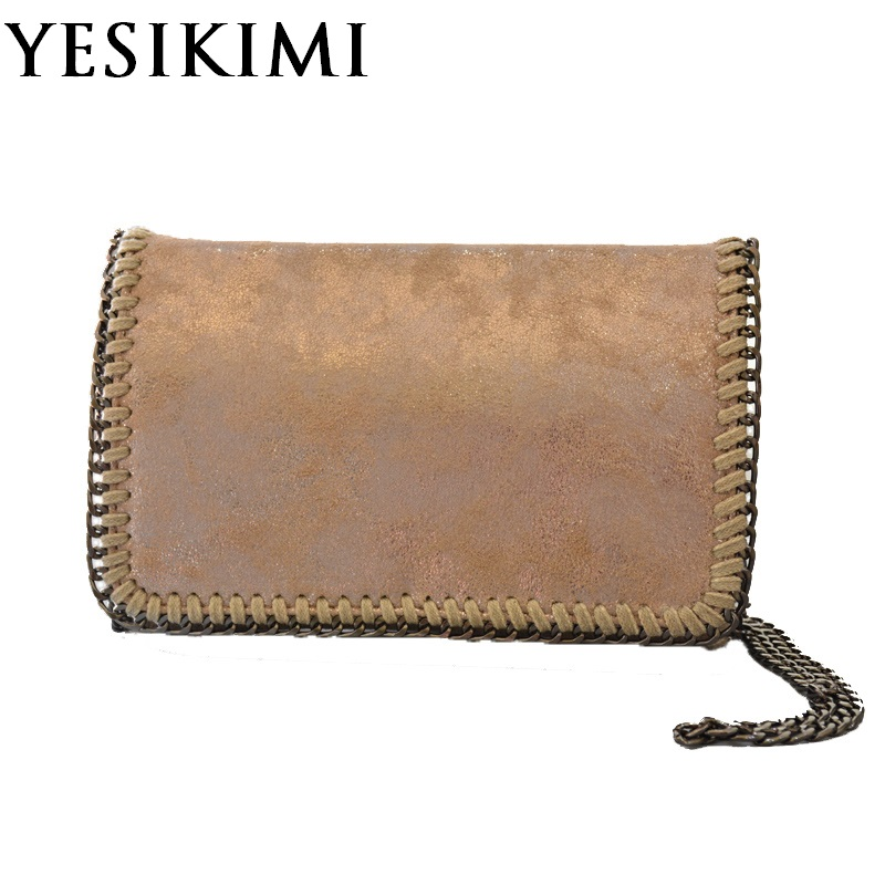 YESIKIMI Women Stella Bag Messenger Shoulder Bag PU Leather Small Flap Falabellas Handbag Cover Day Clutches Chain Bags Gift