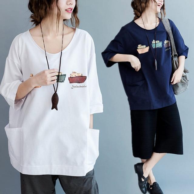ca7dc9945c1 Plus Size 5XL NEW Summer Korean Fashion Women Ship Boat Print Tops Tee Lady  Female Big