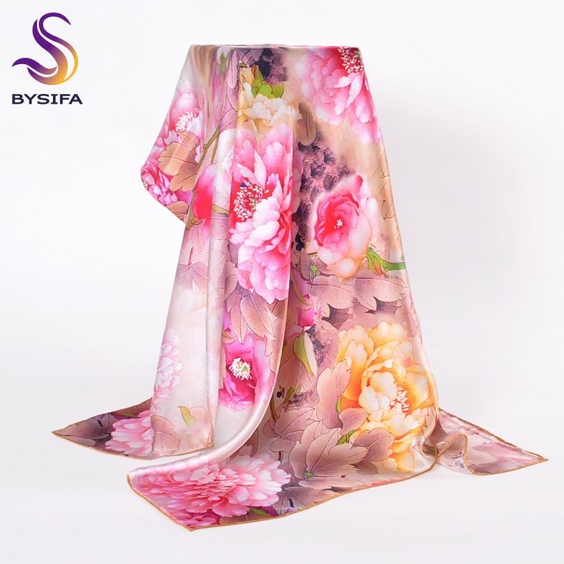 [BYSIFA] Trendy Women 100% Silk Neck   Scarf   Cape New Brand Autumn Winter Colorful Female Ladies Pure Silk   Scarves     Wraps   90*90cm