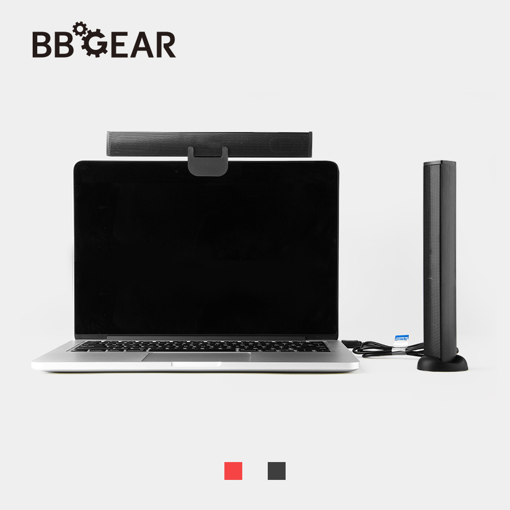 BBGear Portable Laptop/Computer/PC Speaker USB Wired Multimedia 2.0 Speakers with Clip Soundbar Stereo Music Players for Tablet