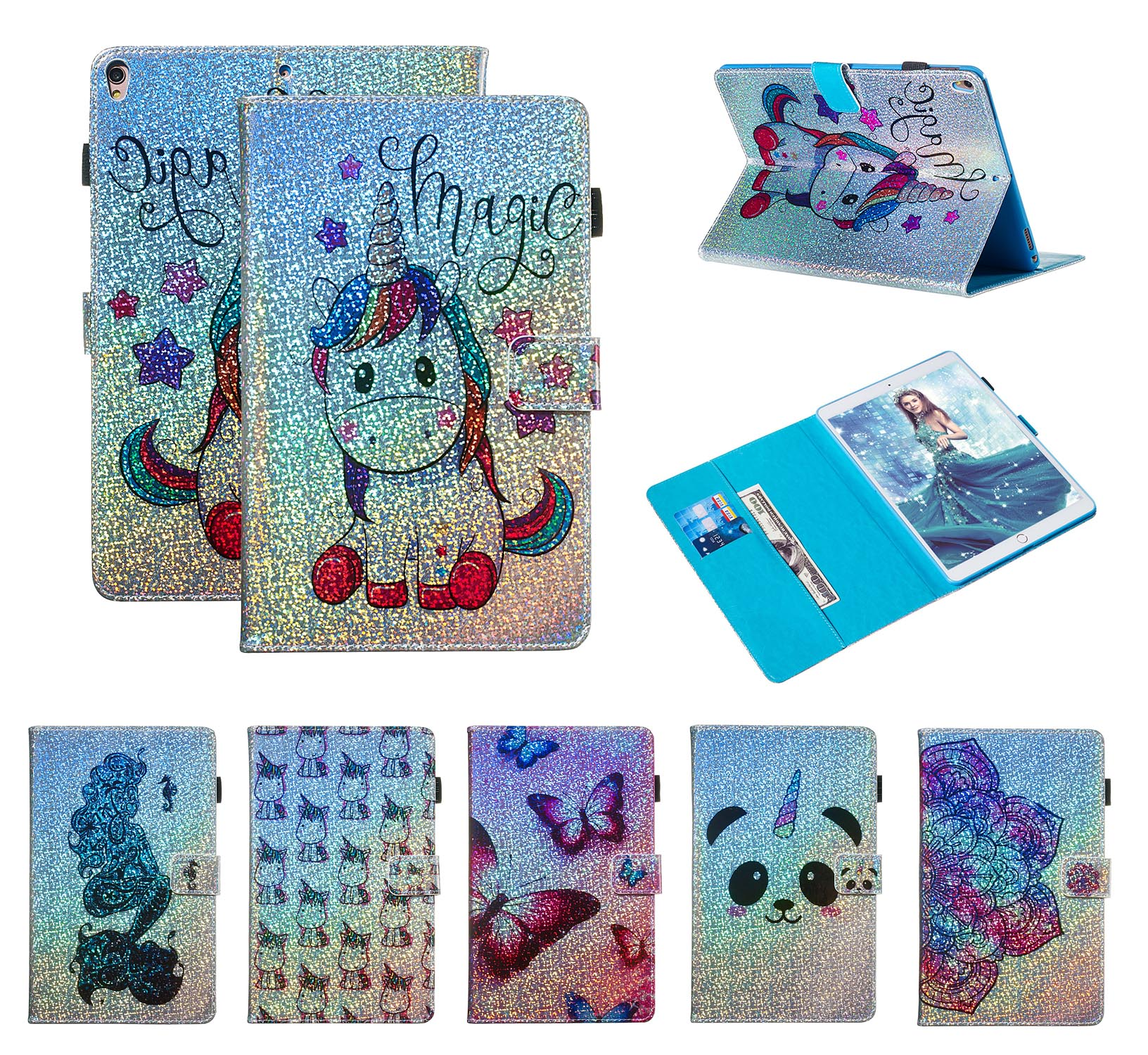 Fundas Case For apple iPad Pro 10.5 2017 PU Leather Flip Bling Unicorn Butterfly Flower for Air 3th Generation 2019